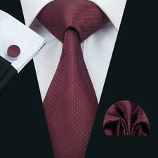 Pure Silk Neck Tie Cuff-links & Handkerchief Set Red with Black Honeycomb Motif