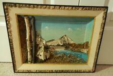 "Vintage 3D Shadow Box Painted Picture Landscape Bark Moss Cork Framed 16"" x12.5"""