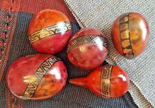 Calabash Tree Preserved Fruit Handpainted Centerpiece Ornament Red Orange Maroon