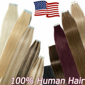 Reusable Seamless Hair Extensions Adhesive Tape in Skin Weft Remy Human Hair 8A