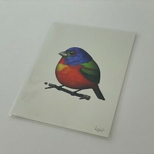 Mike Mitchell Rainbow Painted Bunting 2016 Fat Bird Kingdom SIGNED Red Blue AP