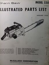 Mcculloch 550 Chain Saw Parts Manual Chainsaw Gasoline Engine 2 Cycle 1966