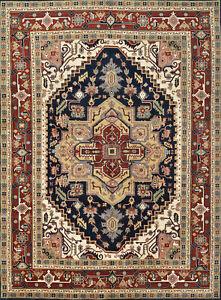 Heriz Serapi 10'x13' Blue Wool Tribal Hand-Knotted Oriental Rug