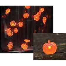 ORANGE PUMPKIN LED TIMER STRING LIGHTS 20 LIGHTS 7' FLEXIBLE COPPER WIRE