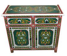 Moroccan Dresser Night Stand Table Wood Moorish Handmade & Painted  Double Green
