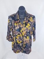 212 Collection 3/4 sleeve fall floral print button down blouse Petite Stretch