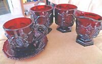 Vintage Avon Ruby Cape Cod Ruby Red Glass Cup & Saucer - Creamer 2 -Footed Cups