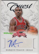2012-13 PANINI CRUSADE AUTO: MARQUIS TEAGUE #6 AUTOGRAPH CHICAGO BULLS/NETS