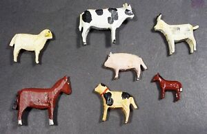 Vintage Hand Painted Plastic Farm Animals - Set of (7) Unsigned Nice Condition