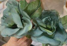 """Vintage 1950s Rose 3"""" Leaves Silk Flower Dusty Ocean Blue 1pc Made in Japan"""