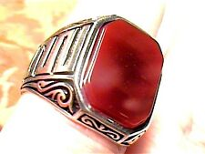 NATURAL CARNELIAN RUBY STERLING SILVER 925 RING 9 OLD VINTAGE BOLD ELEGANT