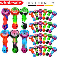 """4"""" Silicone Tobacco Pipe With Glass Bowl Tool & Stash Container Random Color NEW"""