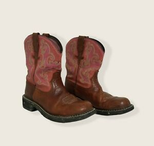 Ariat Fatbaby Western Boots Womens 7.5 B Cowgirl Ropers Pink Brown Well Worn