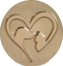"""Dog and Cat inside Heart Wax Seal Stamp, 1"""" seal, wood handle"""