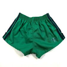 Adidas Trefoil Youth Boys M (24-26) Green Running Shorts Thick Navy Blue Stripes