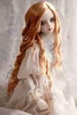 """6-7"""" 1/6 BJD Long Lightest Brown Golden Auburn Spiral Curl Wavy Wig Doll Hair VN"""