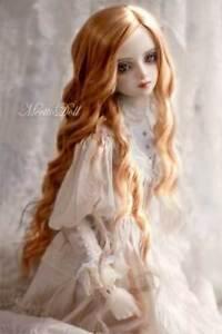 8-9 1/3 BJD Long Lightest Brown Golden Auburn Spiral Curl Wavy Wig Doll Hair