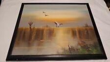 Original Signed Bailey Oil Painting Ducks Landing Marsh Sunset Colors 20x24
