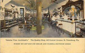 G81/ St Petersburg Florida Postcard c1910 Interior Archibald's Ice Cream Shop