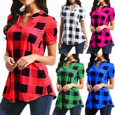 Women Summer Short Sleeve Check Loose T Shirt V Neck Tunic Shirt Casual Blouse