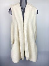 Love Tree Women's Fury Sleeve Less Vest Ivory Coat With Hoodie Sz Large