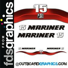 Mariner 15hp 2 stroke outboard decals/sticker kit