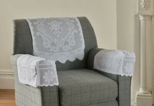 Monica  Polyester Lace Arm Caps And Chair Backs In White & Cream