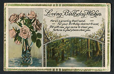 C1920s Birthday Card: Roses in Vase & Forest: Fortune in Glad Places Steer You