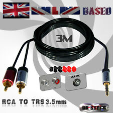 3m RCA/PHONO -TO- TRS / 3.5MM AUXILIARY AUX Mini Jack/OFC AUDIO CABLE (3 METRES)