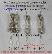 4c speaker cable/wires 37ft 18Awg made for 6.2mm Sony Samsung Lg Philips Ht
