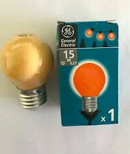 GE 15W ES/E27 ORANGE GOLFBALL ROUND BULB - PACK OF 2