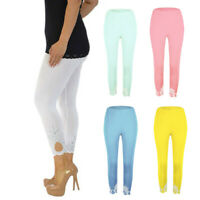 Womens Active Capri Length Pants Ladies Bottom Lace 3/4 Length Cropped Leggings