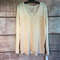 630546c5980a Women s L NWT We The Free MSRP  68 Peach Striped Lightweight Sweater 805051