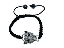 Black Shamballa Style Cord Adjustable Leaopard Animals Collection women bracelet