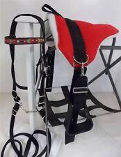 MINI HORSE / SM PONY BAREBACK SADDLE SET - BRIDLE/BIT/STIR RED - INDIAN OVERLAY