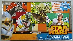 Star Wars 4 Puzzle Pack - Vader, Yoda, Luke, Boba Fett - 5x4.5in