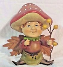 "Garden Figurine 7 1/2"" Resin Mushroom Fairy Holding Balloons"