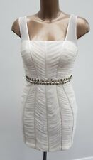 Forever Unique White Beaded Ruched Embellishment Occasion Wedding Mini Dress 12