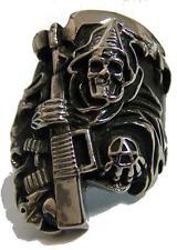 ANARCHY GRIM REAPER W MACHINE GUN STAINLESS STEEL RING size 13- S-535 biker