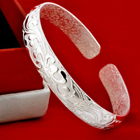 925 Silver Plated Charm Women Carved Flower Bangle Retro Cuff Wristband Bracelet