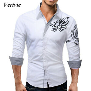 Men's Long-Sleeved shirt Dragon Print Casual Male Slim Long Sleeve High Quality