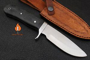 HANDMADE OUTDOOR HUNTING KNIFE CARBON STEEL BLADE SKINNER MICARTA HANDLE.