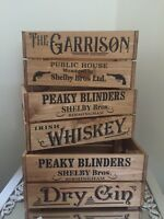 Peaky Blinders Wooden Crate Box Garrison Whiskey Gin Designs Storage Gift Party