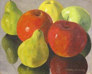 Hans Weingaertner c.1960 fruit still life painting New Jersey NJ artist