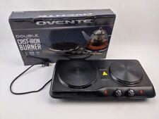 Ovente BGS102B Countertop Electric Double Cast Iron Burner Black