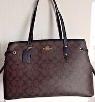 New Coach F57842 Drawstring Carryall Coated Canvas handbag Brown / Black