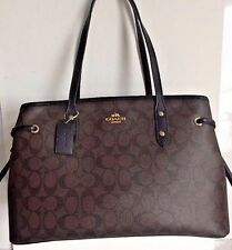 NWT Coach 57842 Drawstring Carryall Signature coated canvas handbag Brown /Black