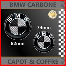 *** LOGO EMBLEME CARBONE NOIR/BLANC BMW 82mm & 74mm CAPOT ET COFFRE ***