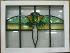 """OLD ENGLISH LEADED STAINED GLASS WINDOW Pretty Tulip & Sweep 20.25"""" x 16.25"""""""