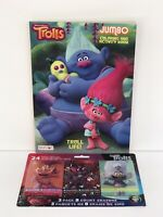 New 2 Piece Set Trolls Jumbo Coloring & Activity Book and 3 Packs Of Crayons